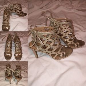 Shoes - Open Toe Gold Bling Heel with Lace-Up Back